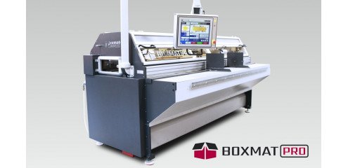 Boxmat PRO - Slitting, slotting, cutting, trimming, scoring, printing and gluing - in one compact boxmaker!
